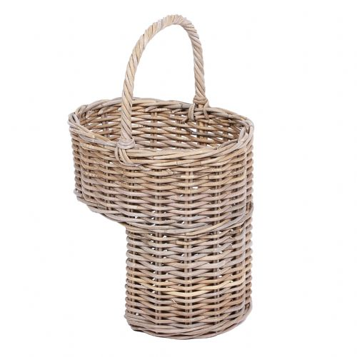 Oval Step Basket with High Handle in Kooboo Grey